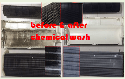 aircon chemical wash (before and after effect)